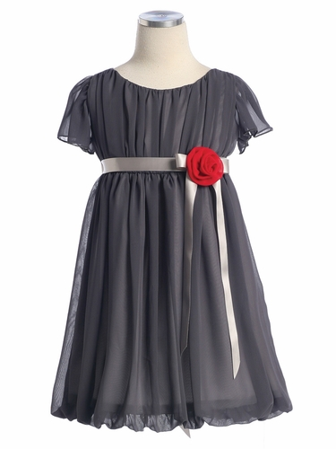 Charcoal Grey Short Chiffon Dress w/Satin Ribbon