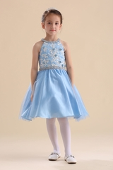 Chic Baby 070 Light Blue Embroidered 3-D Floral Dress w/ Neck & Waist Embellishment
