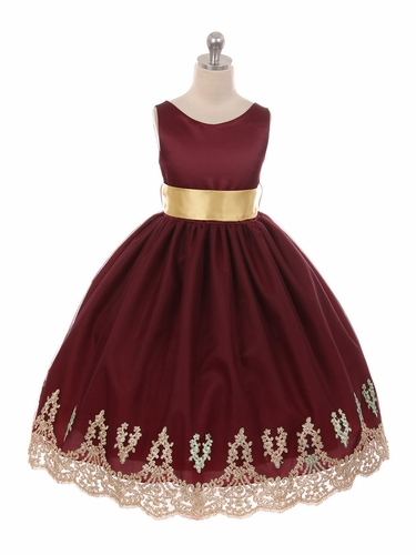 Chic Baby 1712 Burgundy Lace Embroidery Satin Dress