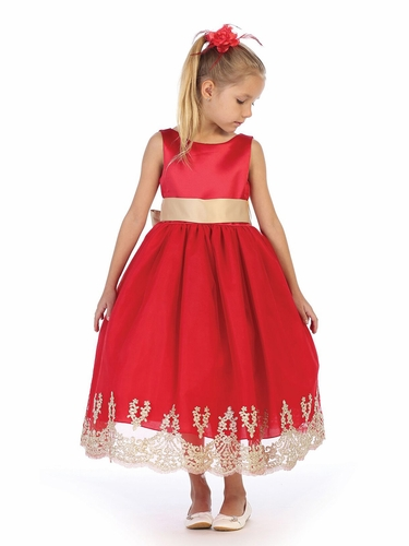 Chic Baby 1712 Red Lace Embroidery Satin Dress