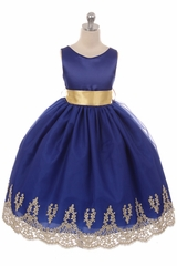 Chic Baby 1712 Royal Blue Lace Embroidery Satin Dress