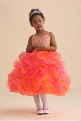 Chic Baby 905 Orange Jeweled Bodice w/ Ruffle Skirt