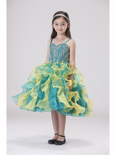 Chic Baby 905 Teal Jeweled Bodice w/ Ruffle Skirt