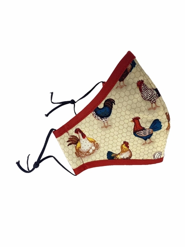Chicken & Rooster Print w/ Red Border Adult 2-Ply Cotton Face Mask