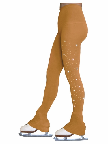 Chloe Noel TL8896-1Crystal New Tan Footless Tights w/ Crystals On One Thigh