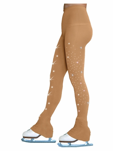 Chloe Noel TL8896-2Crystals Light Tan Footless Tights w/ Crystals on Both Legs