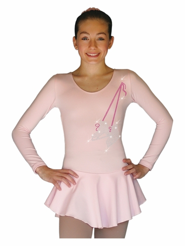 ChloeNoel DLP728 Pink w/ Ribbon Skate Poly Spandex Dress