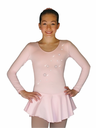 ChloeNoel DLP728 Pink w/ Snow Flakes Poly Spandex Dress