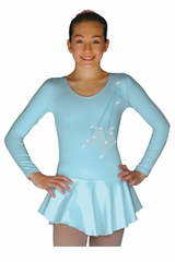 ChloeNoel DLP728 Solid Light Blue w/ Skate Ribbon Poly Spandex Dress