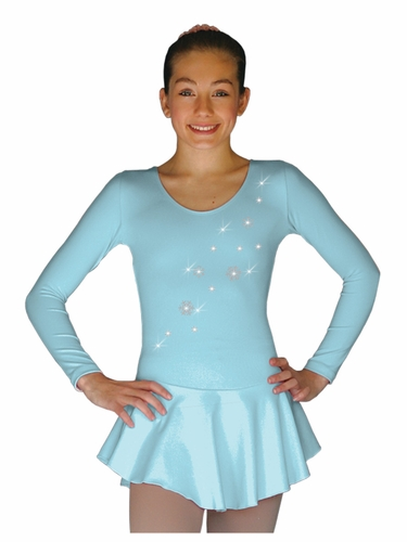 ChloeNoel DLP728 Solid Light Blue w/ Snow Flakes Poly Spandex Dress