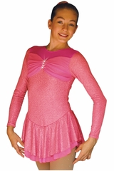 ChloeNoel DLS788 Magic Pink Cinderella Swirls Sparkle Spandex w/ Mesh Dress