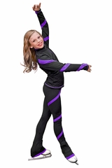 ChloeNoel Ice Skating Outfit- J636F- Crystal Purple Spiral Skating Jacket & P636-Crystal Spiral Skating Pant