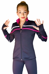 ChloeNoel J618F White/Fuchsia 2-Tone Pipings Lt. Weight Fleece Jacket