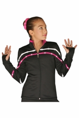 ChloeNoel J618F White/Fuchsia 2-Tone Pipings Lt. Weight Fleece Jacket w/ Crystals