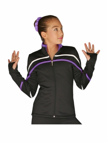 ChloeNoel J618F White/Purple 2-Tone Pipings Lt. Weight Fleece Jacket