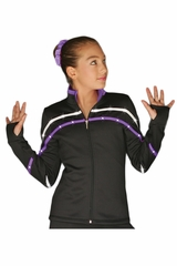ChloeNoel J618F White/Purple 2-Tone Pipings Lt. Weight Fleece Jacket w/ Crystals