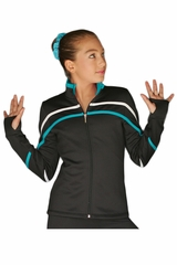 ChloeNoel J618F White/Turquoise 2-Tone Pipings Lt. Weight Fleece Jacket