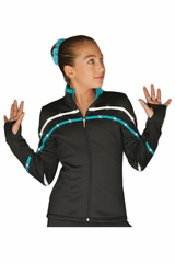 ChloeNoel J618F White/Turquoise 2-Tone Pipings Lt. Weight Fleece Jacket w/ Crystals