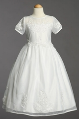 Communion Dress Satin Bodice w/Embroidered Applique and Sheer Neckline