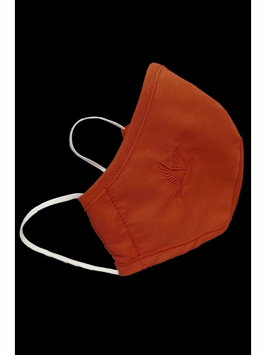 Confirmation 2-Ply Face Shaped Mask w/ Red Embroidered Dove