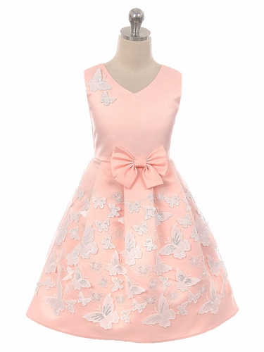 Crayon Kids 2112 Blush Satin Butterfly Dress
