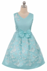 Crayon Kids 2112 Turquoise Satin Butterfly Dress