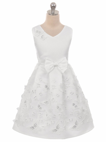 Crayon Kids 2112 White Satin Butterfly Dress
