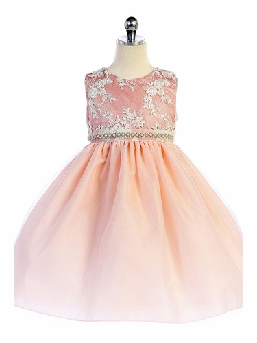 Crayon Kids 338 Dusty Rose Embroidered Bejeweled Dress