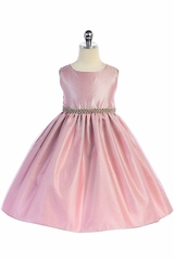 Crayon Kids 370 Pink Bejeweled Waist Trim Flared Skirt Dress