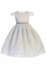 Crayon Kids 390 White Corded Lace Dress w/ Rhinestone Belt
