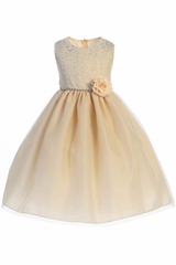 Crayon Kids 391 Champagne Shimmering Dotted Bodice w/ Tulle Skirt