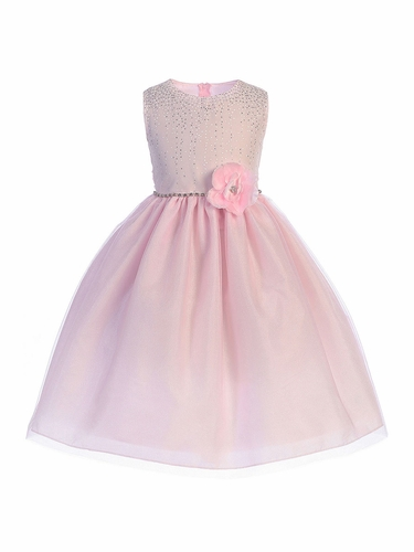 Crayon Kids 391 Pink Shimmering Dotted Bodice w/ Tulle Skirt