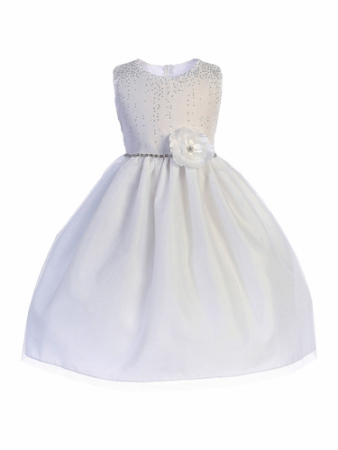 Crayon Kids 391 White Shimmering Dotted Bodice w/ Tulle Skirt