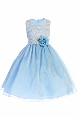 Crayon Kids 393 White Lace Bodice w/ Blue Crystal Organza Skirt