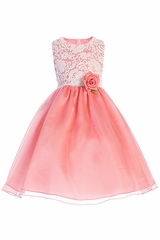 Crayon Kids 393 White Lace Bodice w/ Coral Crystal Organza Skirt