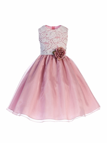 Crayon Kids 393 White Lace Bodice w/ Dusty Rose Crystal Organza Skirt