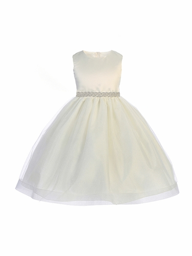Crayon Kids 398 Ivory Satin Bodice and Hard Netting Tulle Skirt w/ Rhinestone Belt