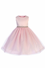 Crayon Kids 398 Pink Satin Bodice and Hard Netting Tulle Skirt w/ Rhinestone Belt