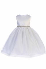 Crayon Kids 398 White Satin Bodice and Hard Netting Tulle Skirt w/ Rhinestone Belt