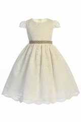 Crayon Kids 399 Ivory Corded Lace Dress w/ Rhinestone Belt
