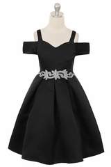 Crayon Kids C400 Black Off The Shoulder V-Neck Jeweled Waist Dress