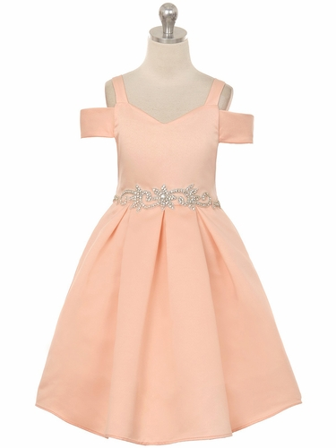 Crayon Kids C400 Blush Off The Shoulder V-Neck Jeweled Waist Dress
