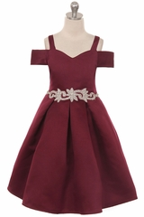 Crayon Kids C400 Burgundy Off The Shoulder V-Neck Jeweled Waist Dress