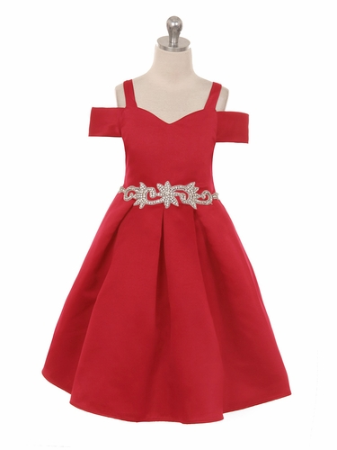 Crayon Kids C400 Red Off The Shoulder V-Neck Jeweled Waist Dress