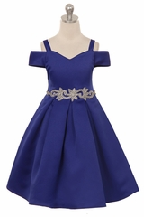 Crayon Kids C400 Royal Blue Off The Shoulder V-Neck Jeweled Waist Dress