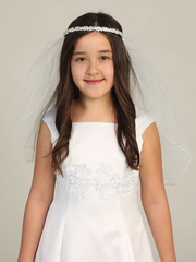 Dainty Floral Beaded Rhinestone Headband Communion Veil