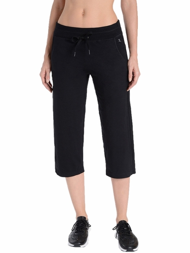 Danskin 1952 Women's Black Drawcord Crop