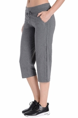 Danskin 1952 Women's Charcoal Drawcord Crop