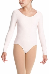 Danskin 1989 Girl's Theatrical Pink Dance Basic Long Sleeve Leotard