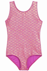 Danskin 3810 Girl's Pink Gold Mermaid Print Gymnastics Leotard